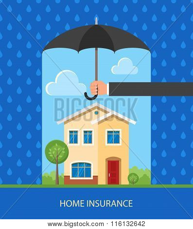 Home protection plan concept. Vector illustration in flat design. Hand holding umbrella to protect h