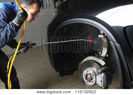Car Service. Washing Of A Car High Pressure