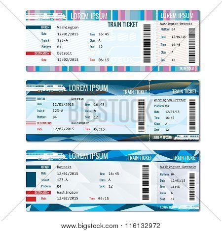 Train tickets vector set