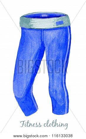 Blue Leggings Or Sweatpants Isolated On White Background.