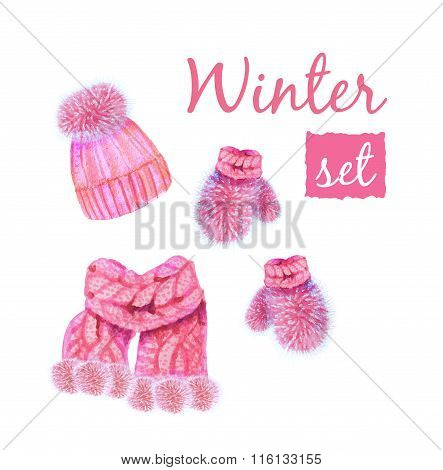 Winter Clothing Illustration. Includes Mittens, Scarf, And Stocking Cap.