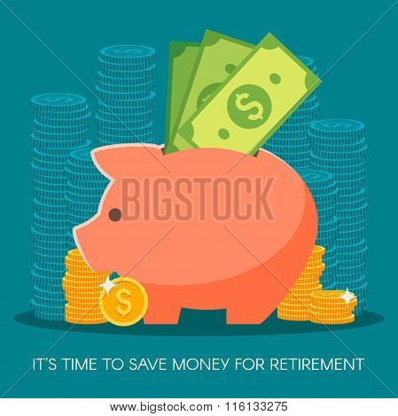 Saving money. Business, finance and investment concept. Vector illustration. Coins, dollar sign