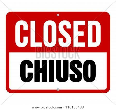 Closed Chiuso Sign In White And Red