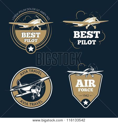 Aircraft and transportation labels. Air tourism vector emblems