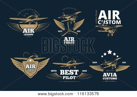 Flight adventures vector logos and labels