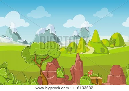 Nature seamless vector landscape with hills, trees and mountains