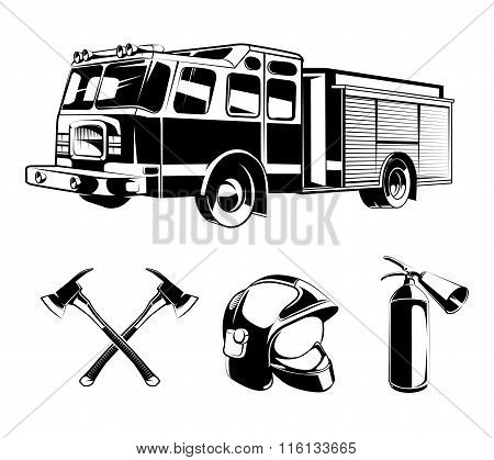 Firefighters vector elements for labels or logos