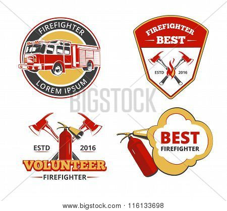 Color firefighter emblems, labels and badges vector set