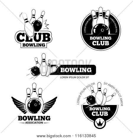 Bowling vector labels, emblems and badges set