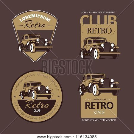 Classic retro cars. Vintage labels set