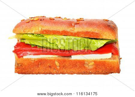Healthy sandwich with roasted red peppers, lettuce and cheese