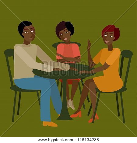 Vector Illustration Of African Family Having Conversation.