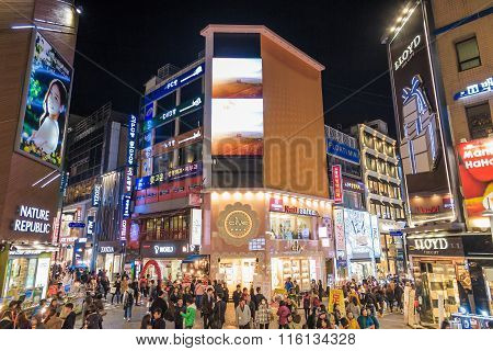 Myeong-dong Neon Lights In Seoul