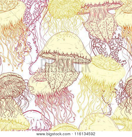 Vintage seamless pattern with collection of jellyfish. Hand drawn vector illustration of marine faun