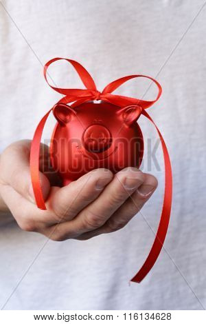 red piggy bank with gift ribbon on white background