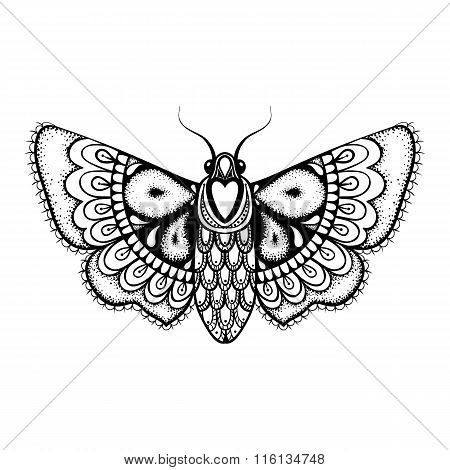 Hand drawn artistically black Butterfly