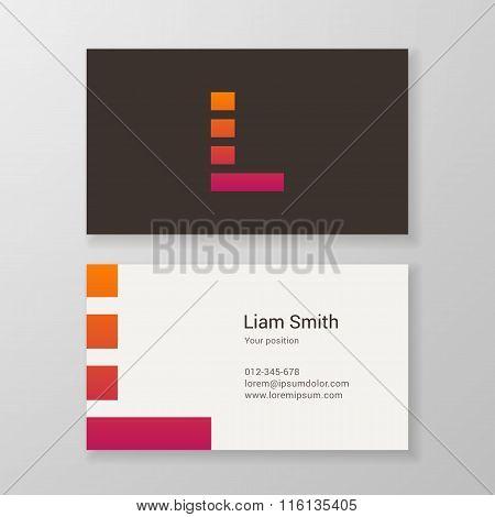 Letter L Stripes Business Card Template