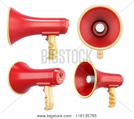 Megaphone in different angles on white background. 3d rendering