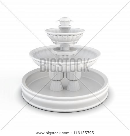Courtyard fountain isolated on white background. 3d rendering