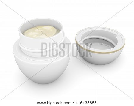 Open jar with cream isolated on white background. 3d rendering