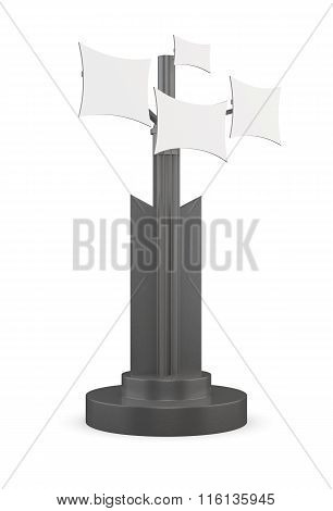 Information booth on a white background. 3d rendering.