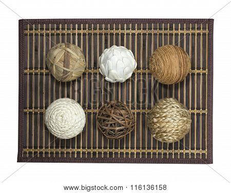 Wattled Balls On Bamboo Carpet