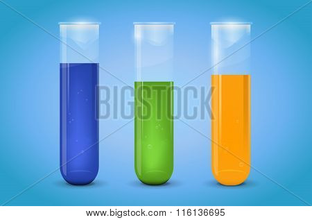 Three Chemical Test-tubes With Liquid