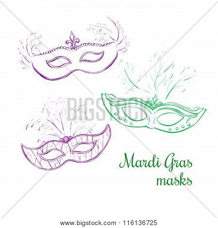 Set Of Simple Contour Doodle Masks