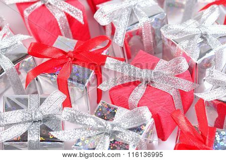Silver And Red Gifts Close-up