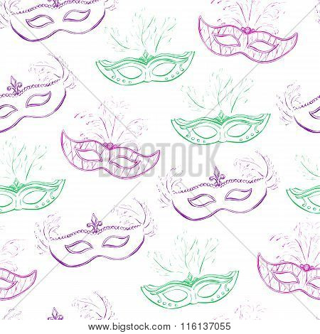 Vector Seamless Pattern With Doodle Masks