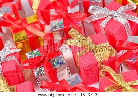 Top View Of Colorful Gifts Close-up