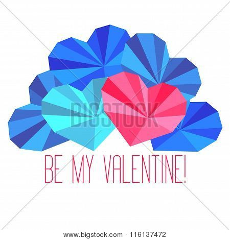 Origami Paper Hearts Composition With Saint Valentine's Day Congratulation
