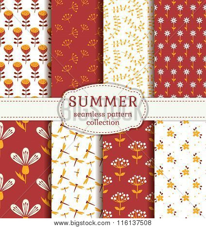 Summer Patterns. Vector Seamless Backgrounds.