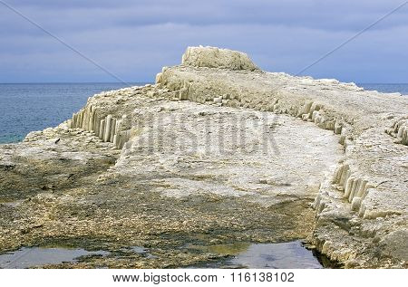 Freakish rock on island Kunashir