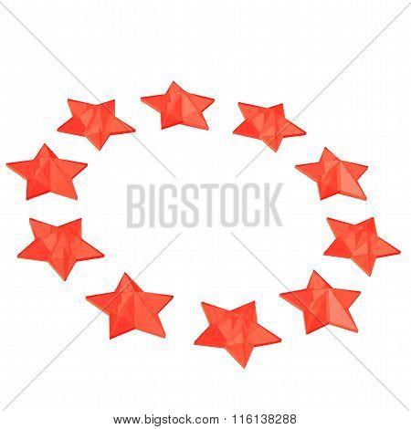 Red Stars On Circle.