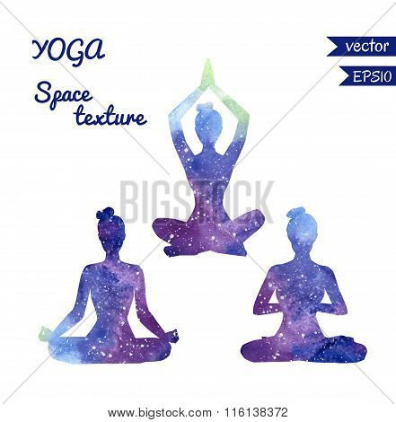 Set Of Space Yoga Silhouettes