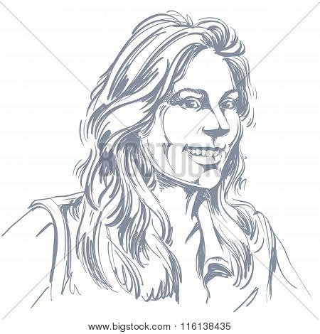 Vector Drawing Of Smiling Woman With Stylish Haircut. Black And White Portrait Of Attractive Happy L