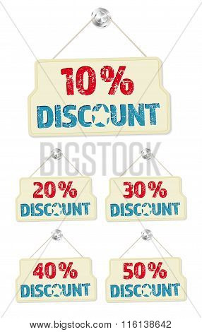 Set Of Hanging Signs With 10-50 Percent Discounts
