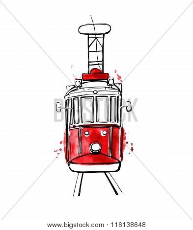 Vector Istanbul Tram With Red Stains