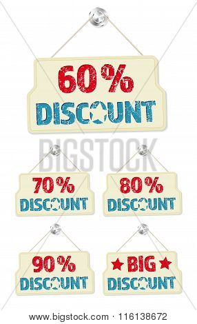 Set Of Hanging Signs With 60-90 Percent Discounts