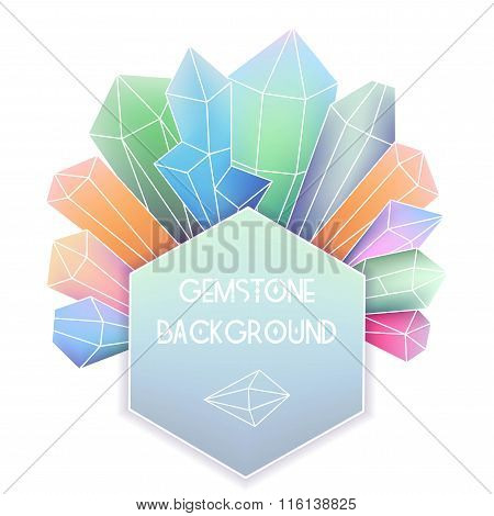 Hexagon Frame With Crystal Composition