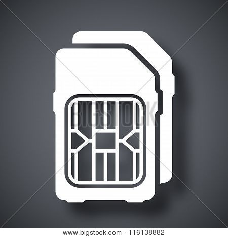 Dual Sim Cards Icon, Vector