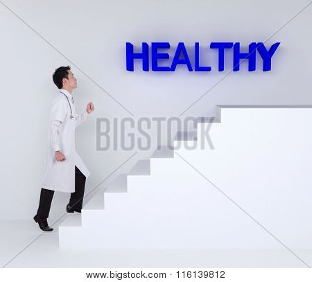 Doctor Stepping Up On Stairs To Healthy