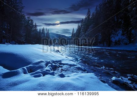 Frozen River In Forest At Night
