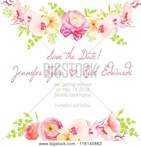 Fresh Ranunculus, Orchid And Pink Roses Floral Design Frame Vector Element