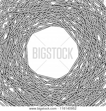 Round Frame Made Of Shredded Paper Stripes