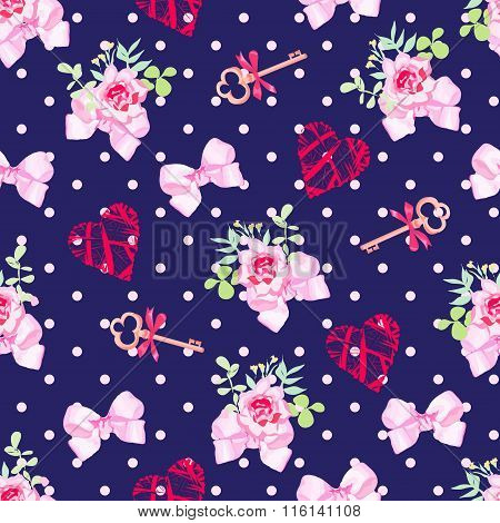 Navy Keys From Valentines Heart, Small Rose Bouquets And Pink Satin Bows Seamless Vector Pattern
