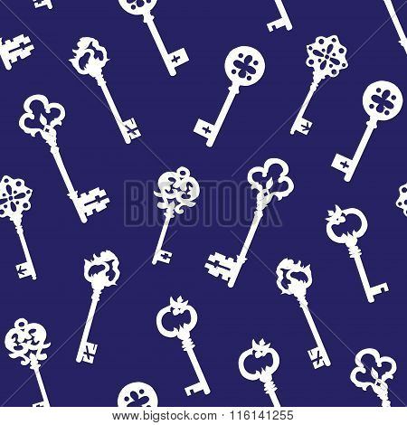 White Gothic Keys On Blue Seamless Vector Pattern