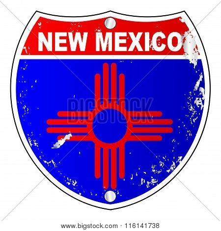 New Mexico Flag Icons As Interstate Sign