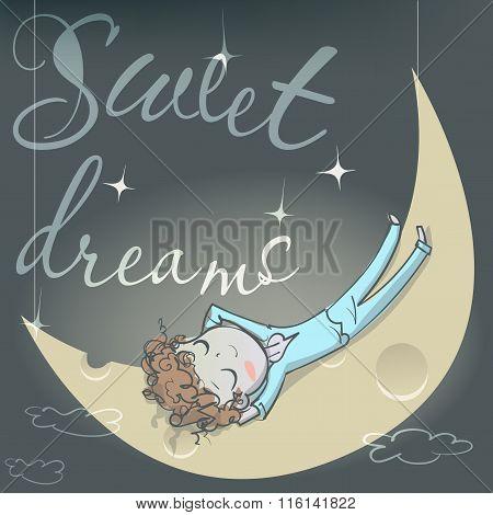 cute sleeping girl on the moon